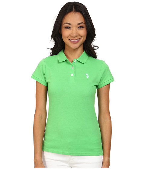 U.S. POLO ASSN. - Solid Small Pony Polo (Sea Grass) Women's Short Sleeve Pullover