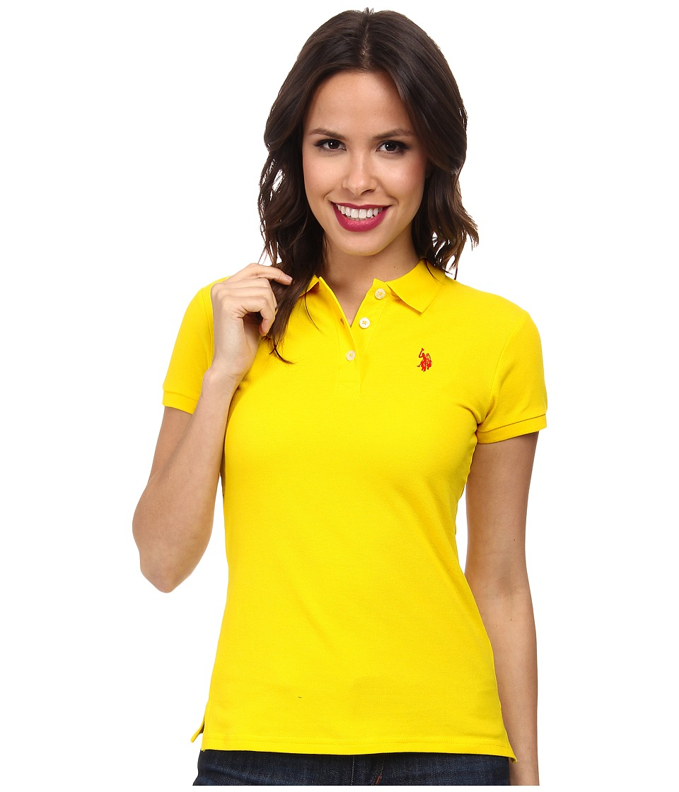 U.S. POLO ASSN. - Solid Small Pony Polo (Sailing Yellow) Women's Short Sleeve Pullover