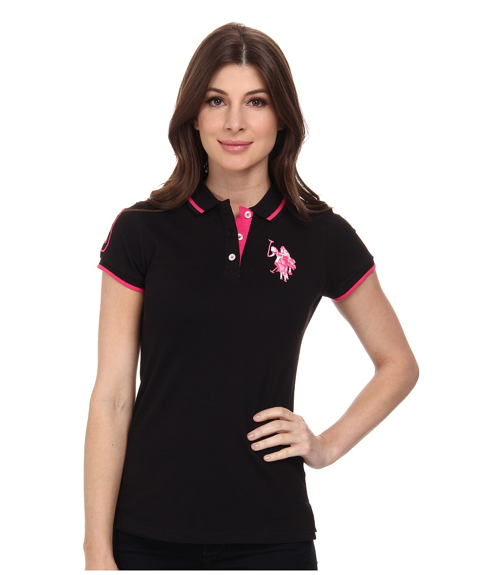 U.S. POLO ASSN. - Solid Pique Polo Shirt (Black) Women's Short Sleeve Knit