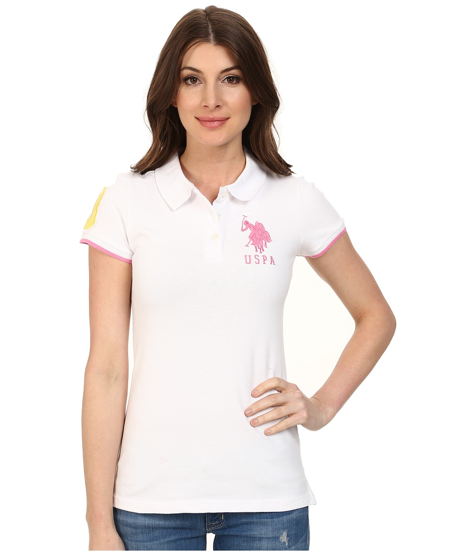 U.S. POLO ASSN. - Contrast Patch Big Pony Polo (Optic White/Pinkness) Women's Short Sleeve Pullover