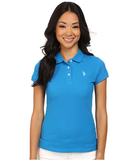 U.S. POLO ASSN. - Solid Small Pony Polo (Blue/Aqua) Women's Short Sleeve Pullover