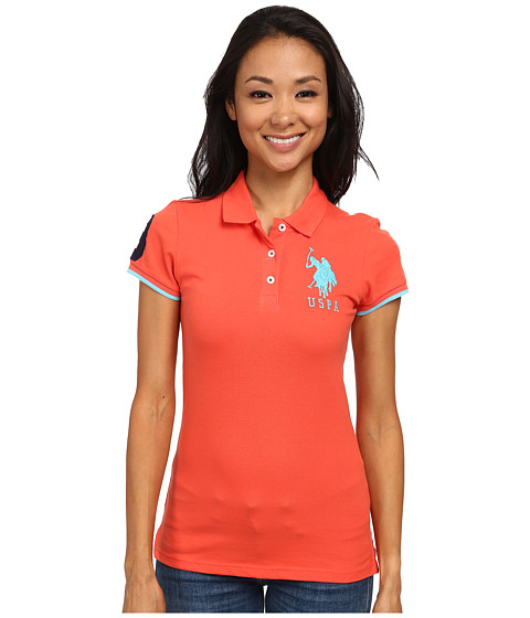 U.S. POLO ASSN. - Contrast Patch Big Pony Polo (Hot Coral) Women's Short Sleeve Pullover