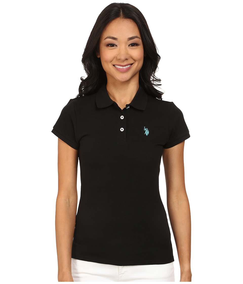 U.S. POLO ASSN. - Solid Small Pony Polo (Black/Teal) Women's Short Sleeve Pullover