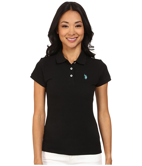 U.S. POLO ASSN. - Solid Small Pony Polo (Black/Teal) Women