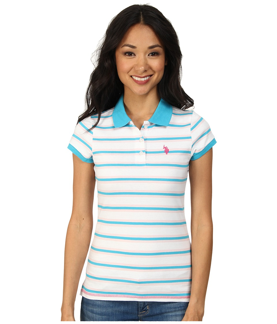 U.S. POLO ASSN. - Striped Jersey Polo (Surf Blue) Women's Clothing