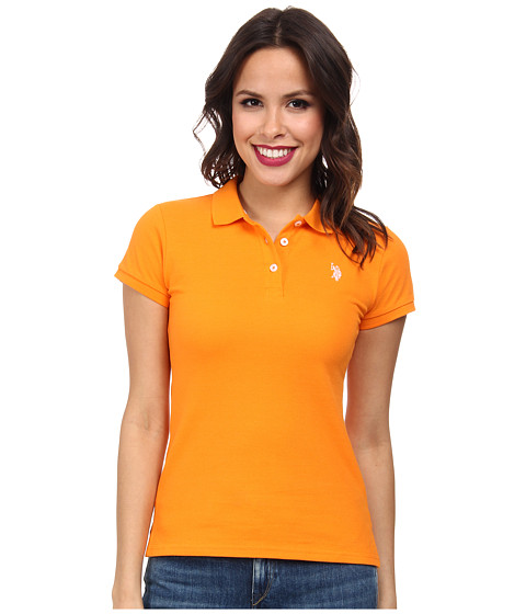 U.S. POLO ASSN. - Solid Small Pony Polo (Orange Popsicle) Women's Short Sleeve Pullover