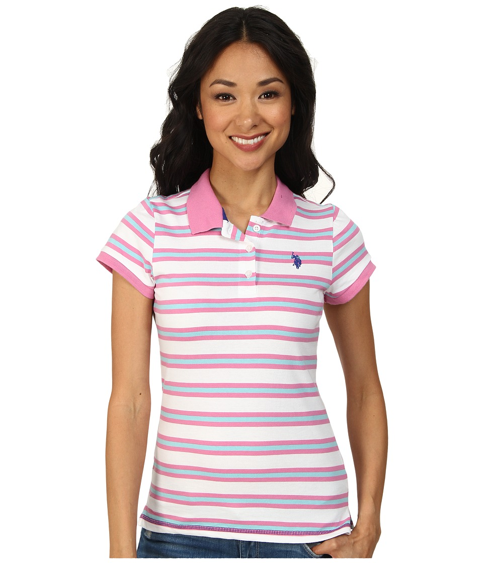 U.S. POLO ASSN. - Striped Jersey Polo (Pink Zinc) Women's Clothing
