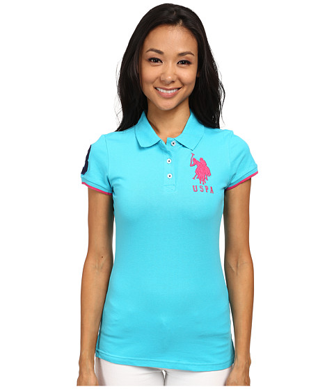 U.S. POLO ASSN. - Contrast Patch Big Pony Polo (Scuba Blue) Women's Short Sleeve Pullover