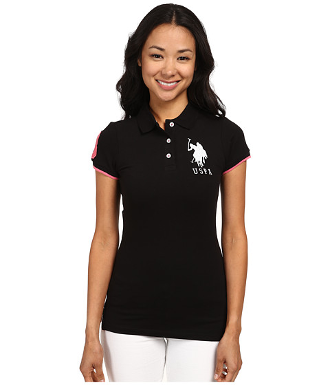 U.S. POLO ASSN. - Contrast Patch Big Pony Polo (Black/Coral) Women