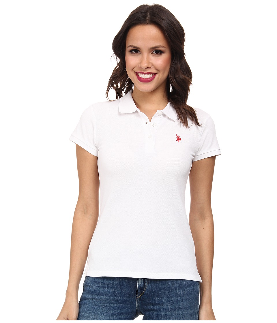 U.S. POLO ASSN. - Solid Small Pony Polo (White) Women's Short Sleeve Pullover