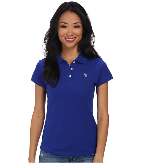 U.S. POLO ASSN. - Solid Small Pony Polo (Blue/Green) Women's Short Sleeve Pullover