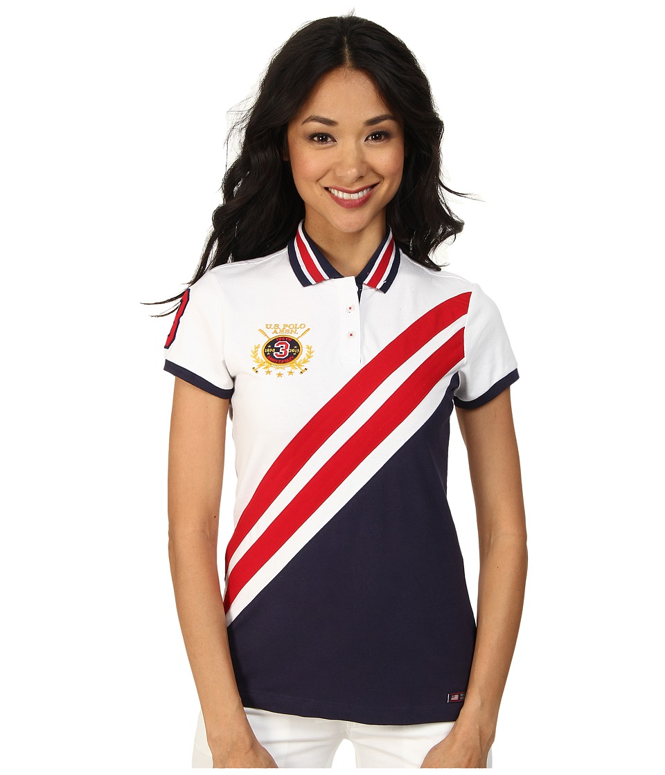 U.S. POLO ASSN. - Color Block Diagonal Stripes Polo (Tribal Navy) Women's Clothing