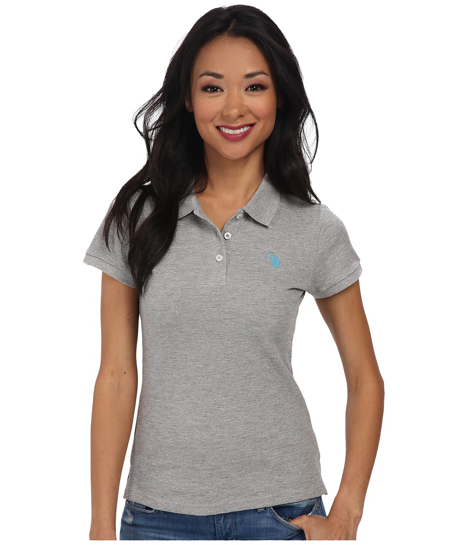 U.S. POLO ASSN. - Solid Small Pony Polo (Heather/Blue) Women's Short Sleeve Pullover