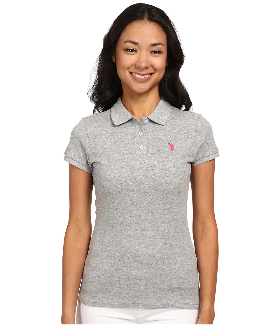U.S. POLO ASSN. - Solid Small Pony Polo (Grey) Women's Short Sleeve Pullover