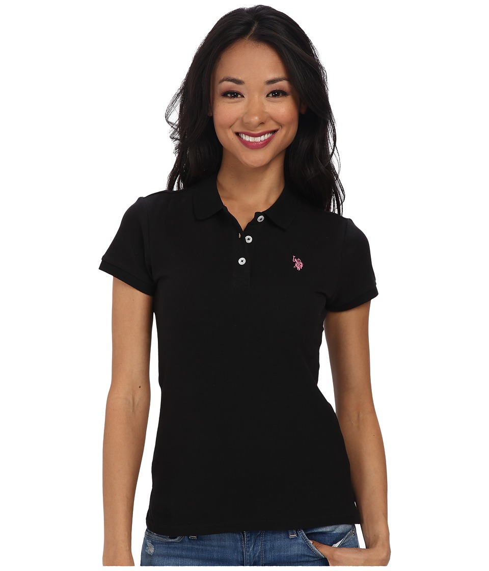 U.S. POLO ASSN. - Solid Small Pony Polo (New Black) Women's Short Sleeve Pullover