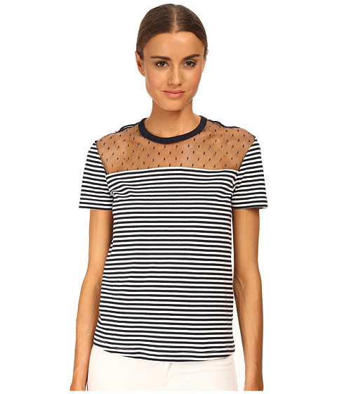 RED VALENTINO - Cotton Jersey Tee (Navy/White) Women's T Shirt
