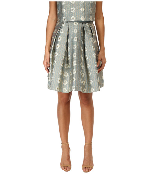 RED VALENTINO - Daisies Lurex Jacquard Skirt (Aqua) Women