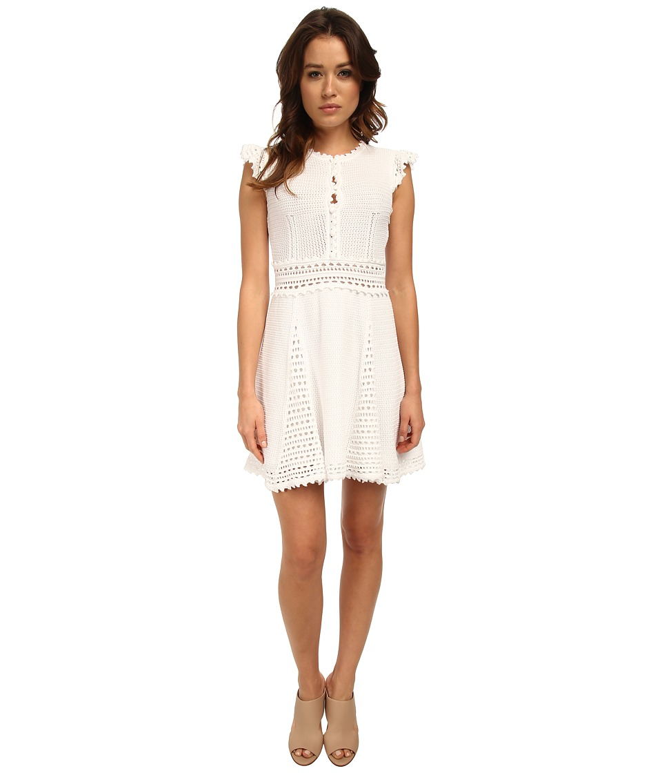 RED VALENTINO - Cotton Yarn Dress (Blanco) Women's Dress