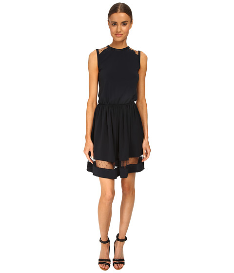 RED VALENTINO - Crepe Jersey Dress (Dark Blue) Women's Dress