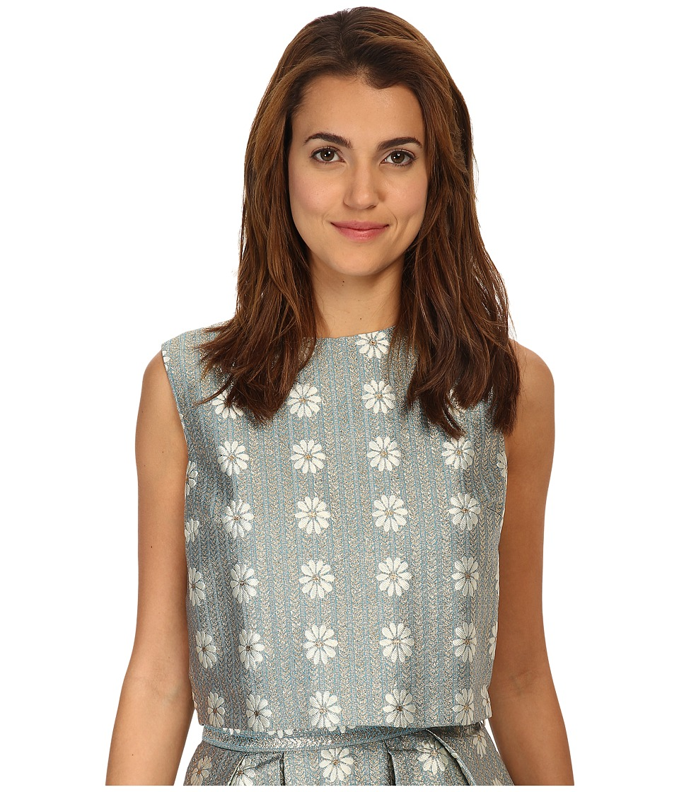 RED VALENTINO - Daisies Lurex Jacquard Top (Aqua) Women's Clothing
