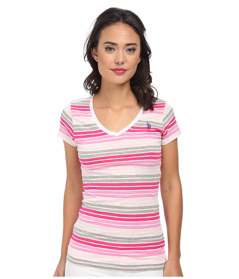 U.S. POLO ASSN. - Multi Stripe V-Neck T-Shirt (Pink Zinc) Women's Short Sleeve Pullover