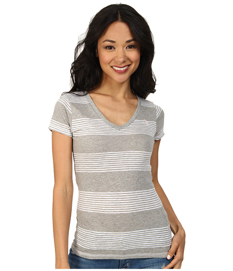U.S. POLO ASSN. - Striped V-Neck Slub T-Shirt (Heather Gray) Women's T Shirt