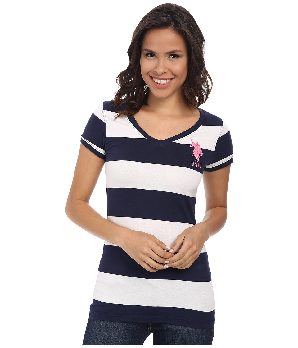 U.S. POLO ASSN. - Wide Stripe V-Neck T-Shirt (Tribal Navy) Women's Short Sleeve Pullover