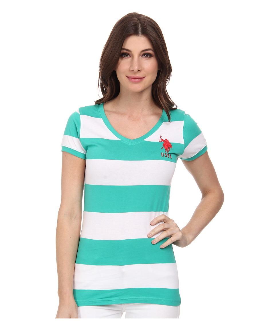 U.S. POLO ASSN. - Wide Stripe V-Neck T-Shirt (Peacock Green) Women's Short Sleeve Pullover