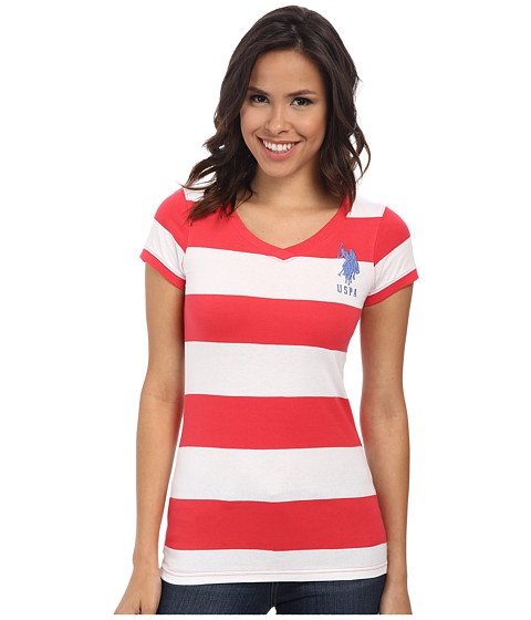 U.S. POLO ASSN. - Wide Stripe V-Neck T-Shirt (Teaberry) Women's Short Sleeve Pullover