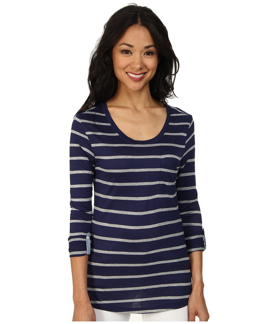 U.S. POLO ASSN. - Striped Long Sleeve Pocket T-Shirt (Tribal Navy) Women