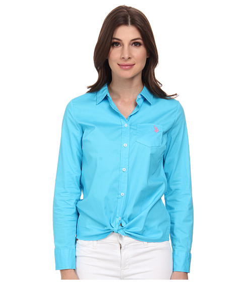 U.S. POLO ASSN. - Solid Single Pocket Long Sleeve Shirt (Blue Atoll) Women