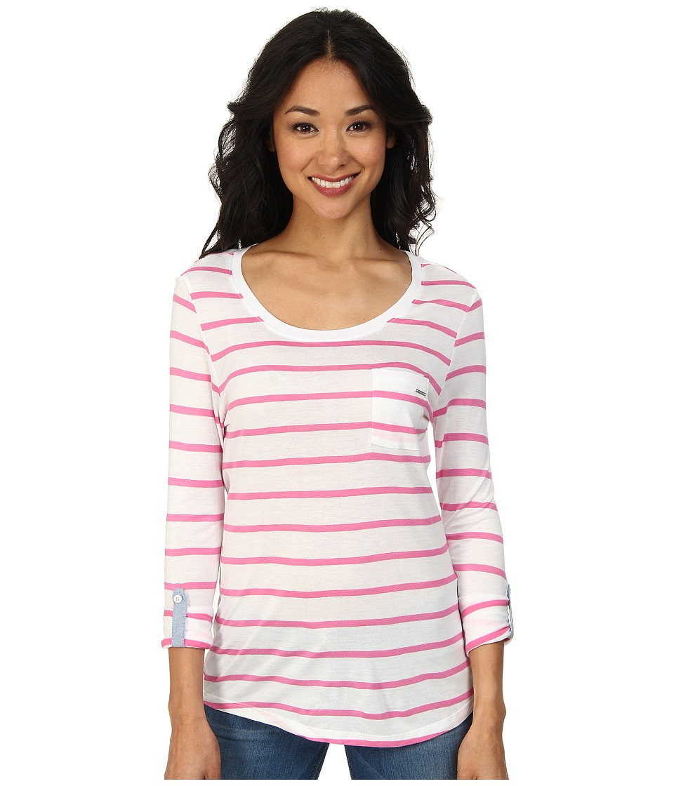 U.S. POLO ASSN. - Striped Long Sleeve Pocket T-Shirt (Pink Zinc) Women's Long Sleeve Pullover