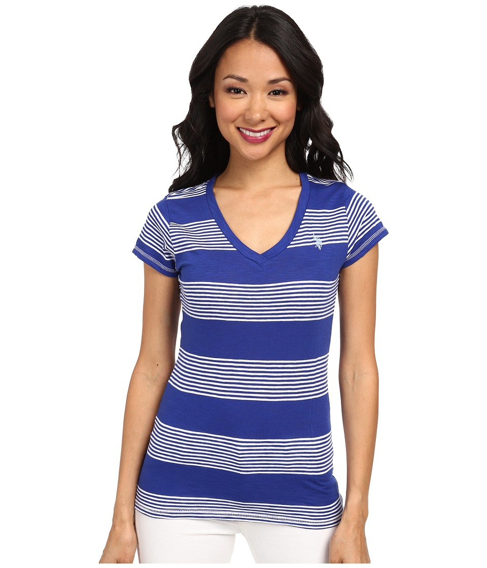 U.S. POLO ASSN. - Striped V-Neck Slub T-Shirt (International Blue) Women's T Shirt