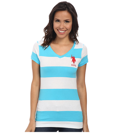 U.S. POLO ASSN. - Wide Stripe V-Neck T-Shirt (Blue Atoll) Women's Short Sleeve Pullover