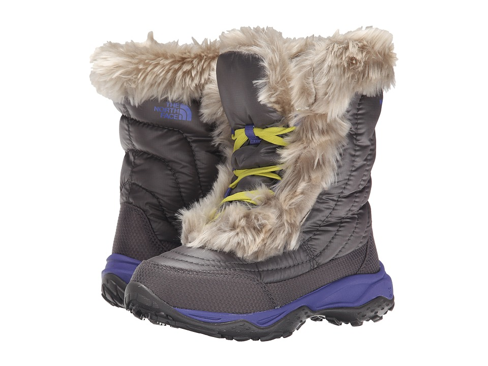The North Face Kids - Nuptse Faux Fur II (Toddler/Little Kid/Big Kid) (Plum Kitten Grey/Blue Iris) Girls Shoes