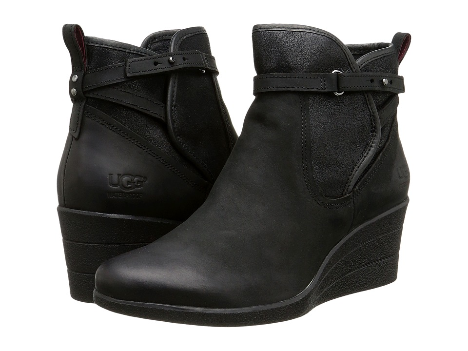UGG - Emalie (Black Leather) Women's Zip Boots