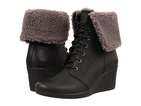 UGG - Zea (Black Leather) Women's Pull-on Boots