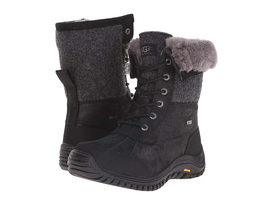 UGG - Adirondack Boot II (Black Leather) Women's Cold Weather Boots