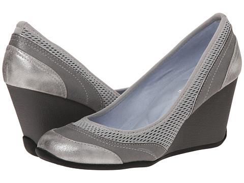Adrienne Vittadini - Vitus (Grey Mesh Distressed Metallic) Women's Wedge Shoes