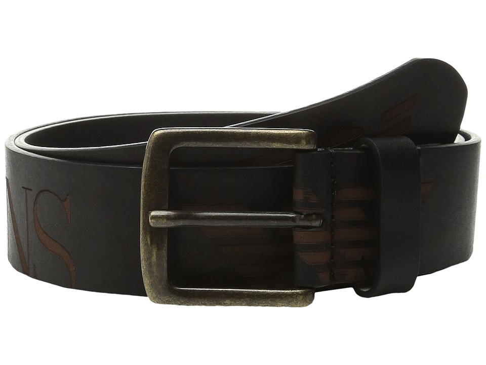 Armani Jeans - Scale Belt w/ Logo Buckle (Black) Men's Belts