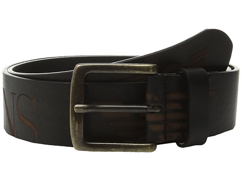 Armani Jeans - Scale Belt w/ Logo Buckle (Black) Men
