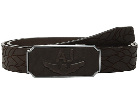 Armani Jeans - AJ Rectangular Buckle Belt (Brown) Men's Belts