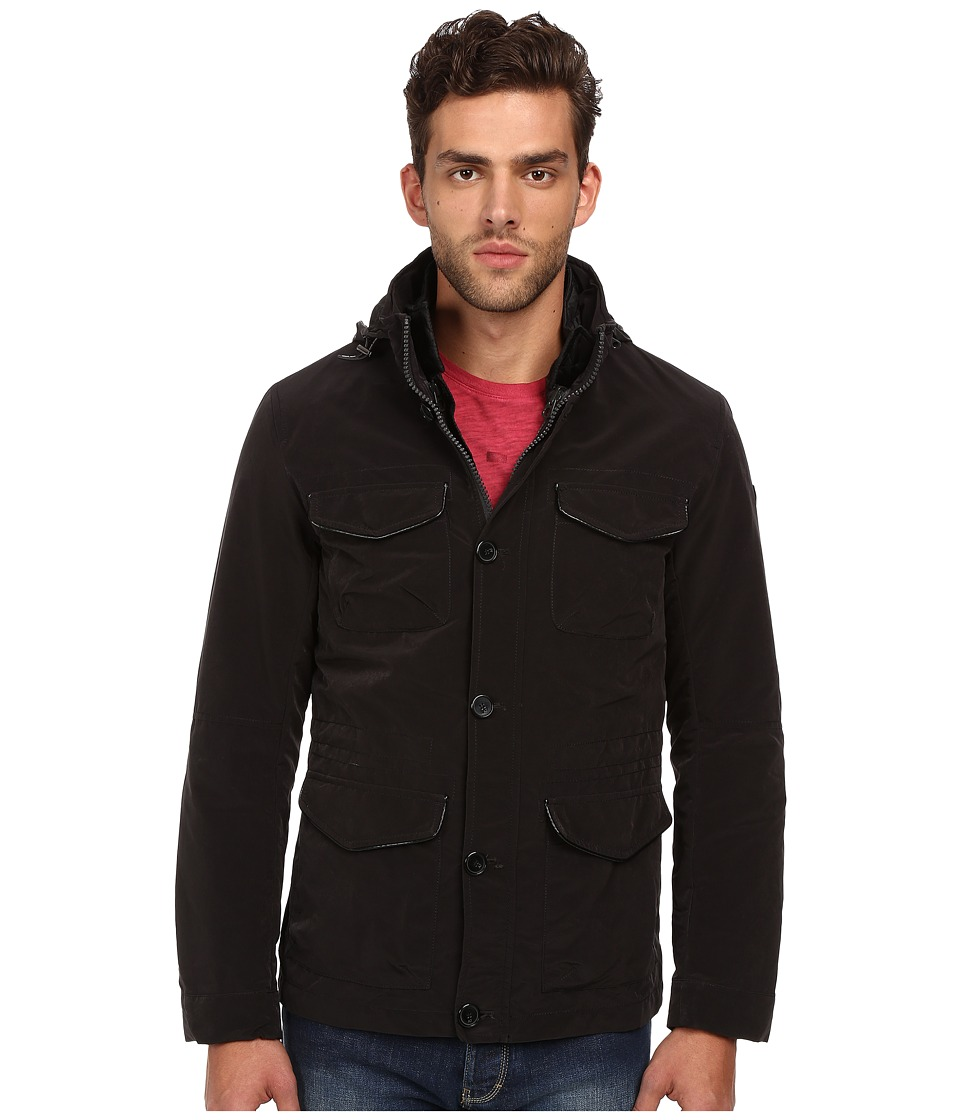 Image of Armani Jeans - 2-in-1 Poly/Cotton Jacket and Vest (Black) Men's Coat