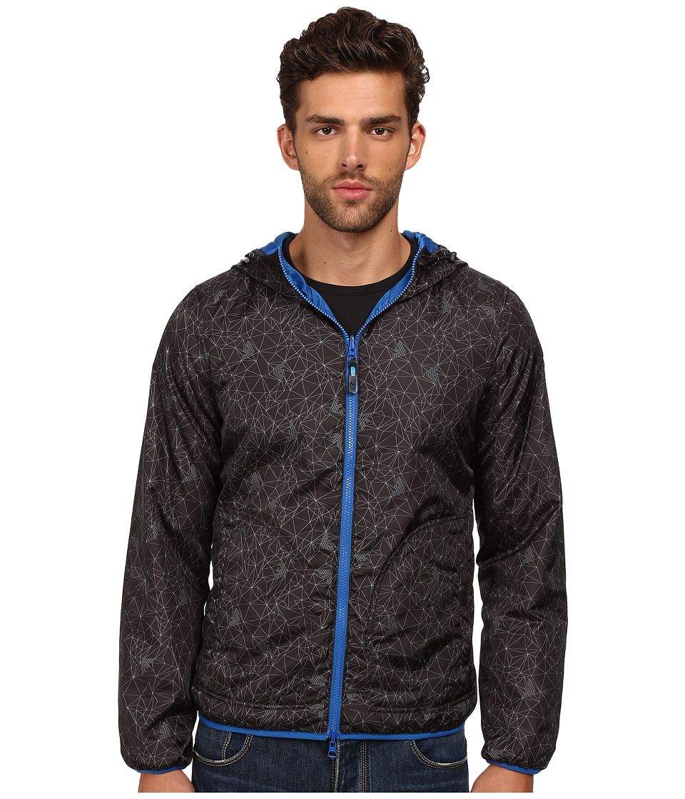 Armani Jeans - All Over Printed Nylon Reversible Jacket (Black Fantastia) Men's Coat