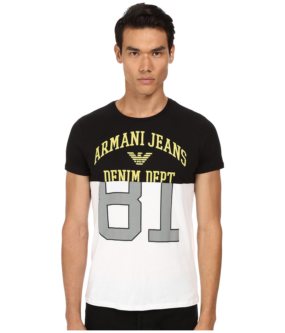 Armani Jeans - Cotton Modal AJ-81 Eagle Tee (White/Black) Men's T Shirt