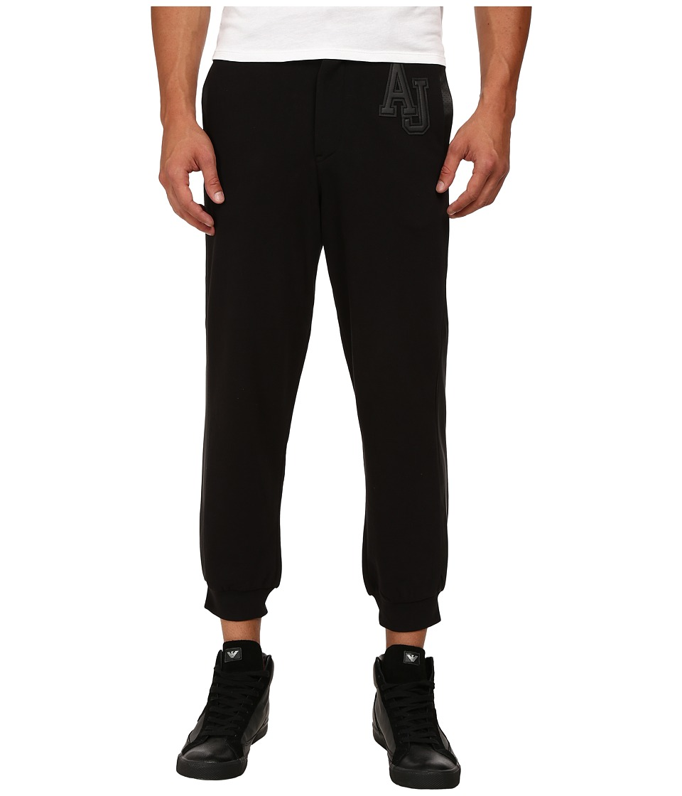 Armani Jeans - Fleece/Cotton Sweatpants w/ Perforated Leather Trim (Black) Men's Casual Pants
