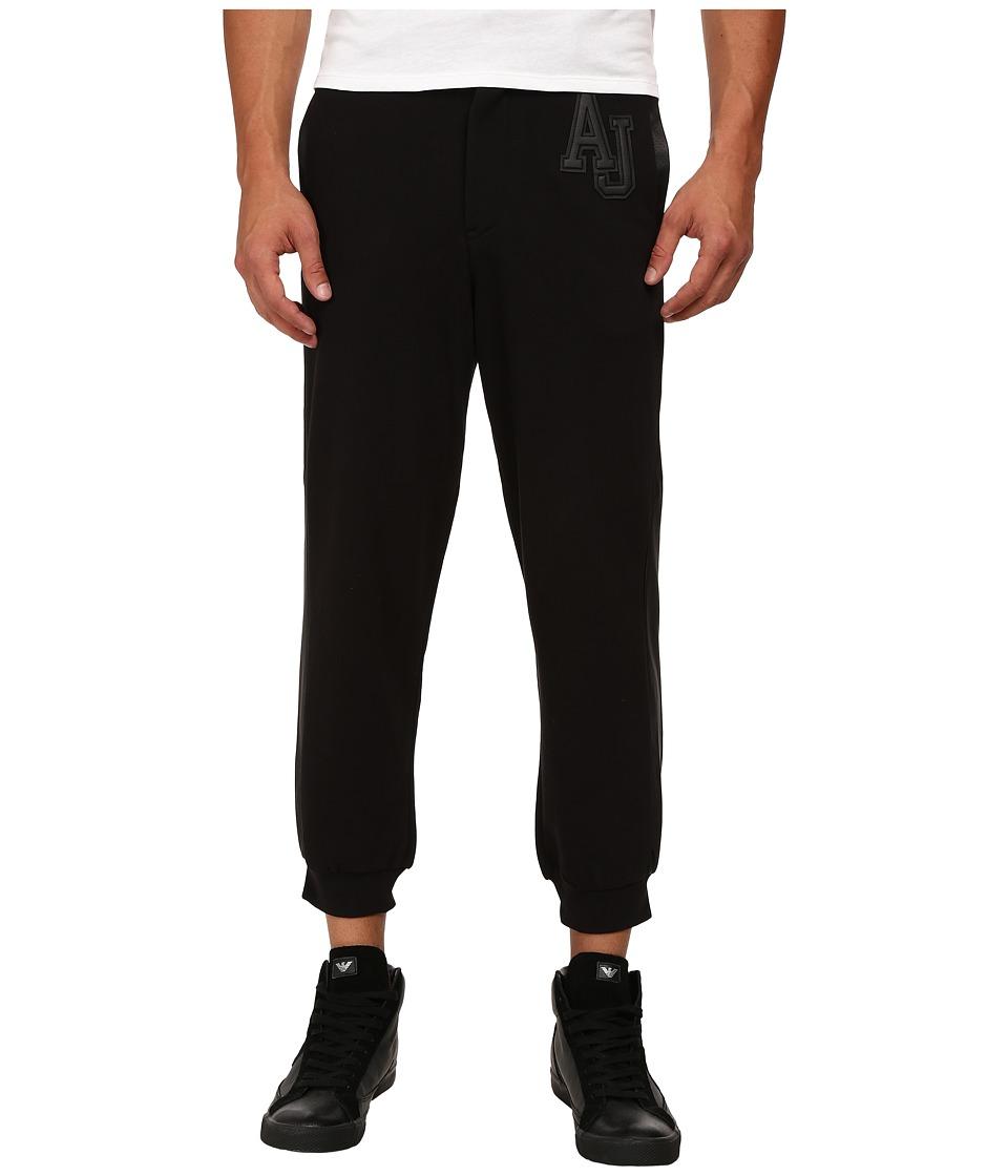 Armani Jeans - Fleece/Cotton Sweatpants w/ Perforated Leather Trim (Black) Men's Casual Pants