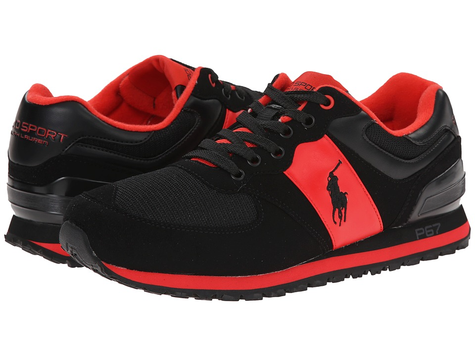 Polo Ralph Lauren - Slaton Pony (African Red Tech Leather/Black Tech Suede) Men's Lace up casual Shoes