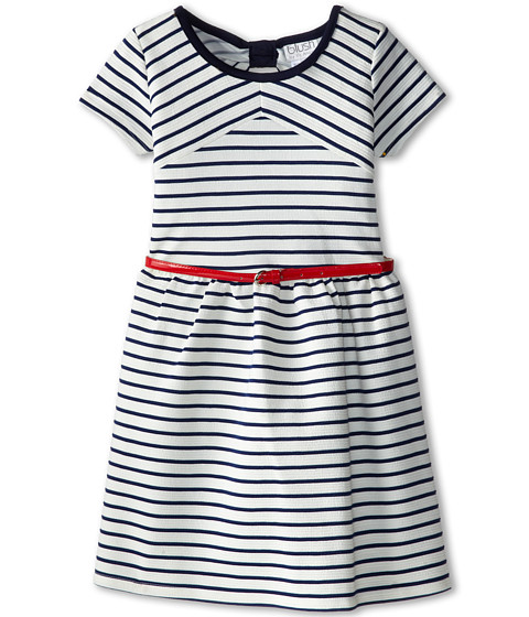 Us Angels - Double Knit Cap Sleeve w/ Belt Cutout Back (Big Kids) (Navy) Girl's Dress