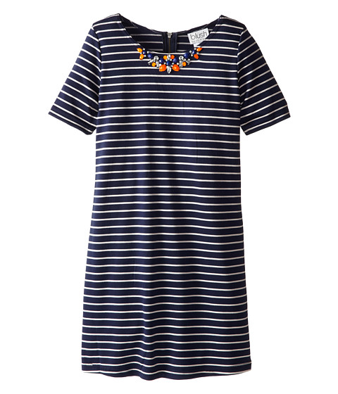 Us Angels - 3/4 Sleeve Stripe Pointe Dress (Big Kids) (Navy) Girl's Dress